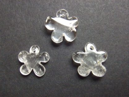 3 Crystal Flowers (approx 15mm with 1.5mm hole) suitable for creating jewellery items, and for threading onto fine cord or elastic thread.